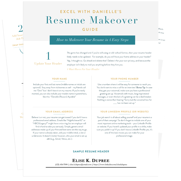 Resume Makeover Guide | Excel with Danielle